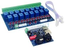 Оптовая 16CH реле Контроллер dmx512, релейный выход, DMX управления реле, 16way переключатель реле (макс 10A), высокого напряжения светодиодные фонари