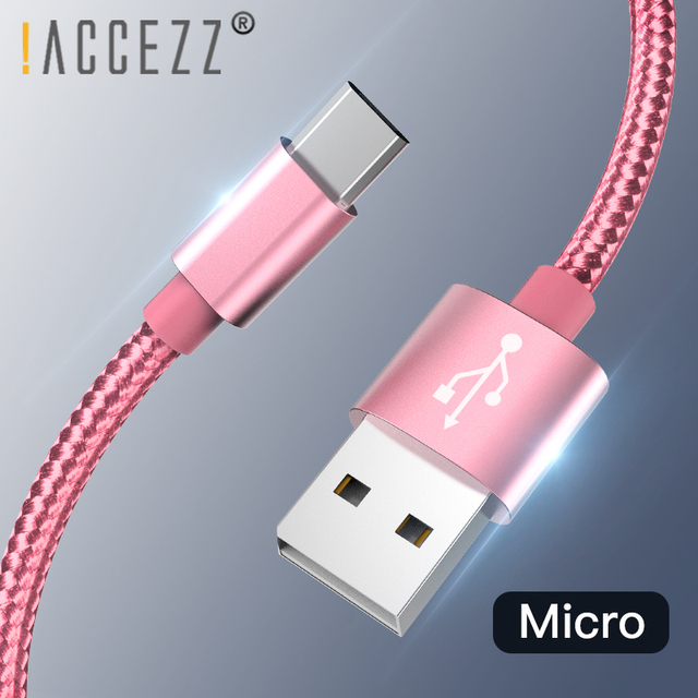 ! ACCEZZ מיקרו USB כבל ניילון מהיר טעינת סנכרון נתונים כבל עבור סמסונג Xiaomi Redmi הערה 5 פרו כבוד Tablet אנדרואיד מטען קו