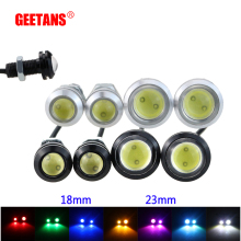 GEETANS 1pcs Daytime Running Lights Source Backup Reversing Parking Signal Lamp Waterproof 18-23mm black/sliver Led Eagle Eye DI