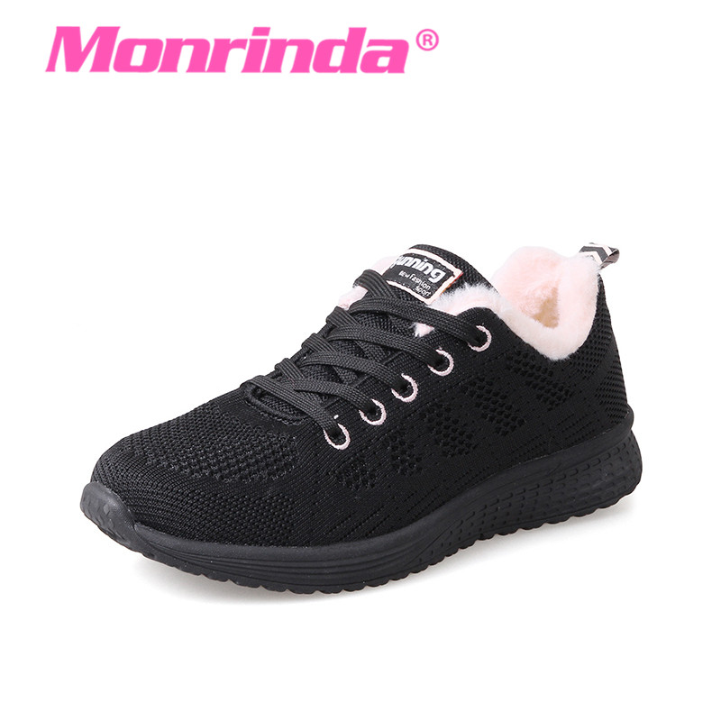 New Style Winter Sneakers for Women Keep Warm Sport Shoes Woman Lightweight Plus Fur Running Shoes Comfortable Black Sneaker 41 цена