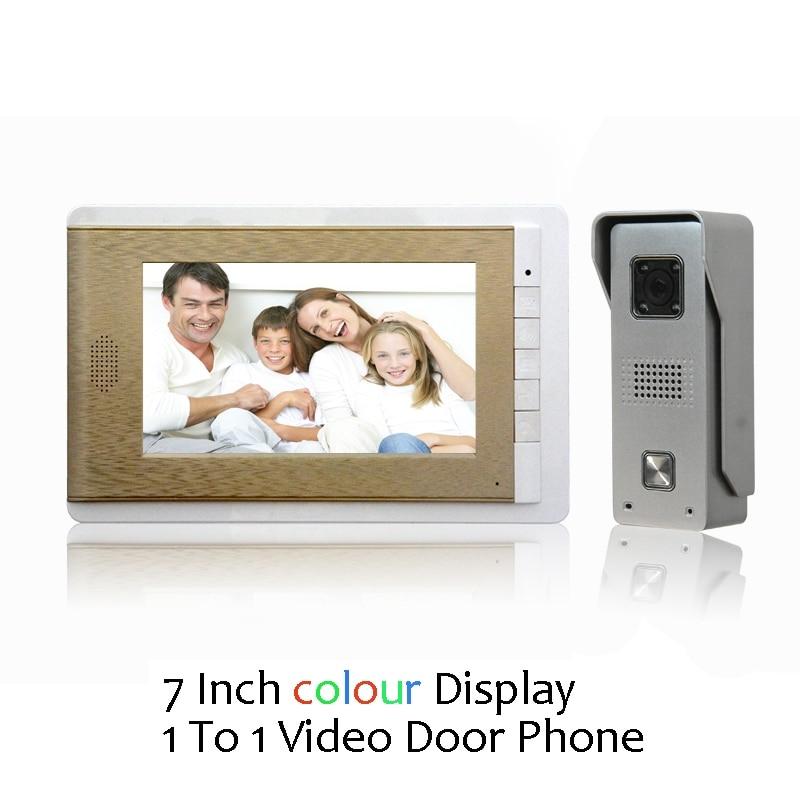 (1 Set) Video Door Phone Talkback 7 Inch Screen Door Access Intercom 1 To 1 Door Bell Intercom Night Version Free Shipping