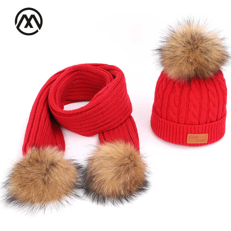 Knitted children's Scarf, Hat & Glove Sets boy girl warm comfort raccoon fur pom-pom child's mask caps solid autumn and winter