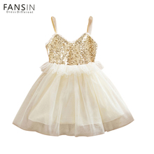 Fansin Brand 2017 Summer Kids Baby Dresses Sequins Lace Children Baby Girl Clothing Tutu Dress For Girls Wedding Party Vestidos