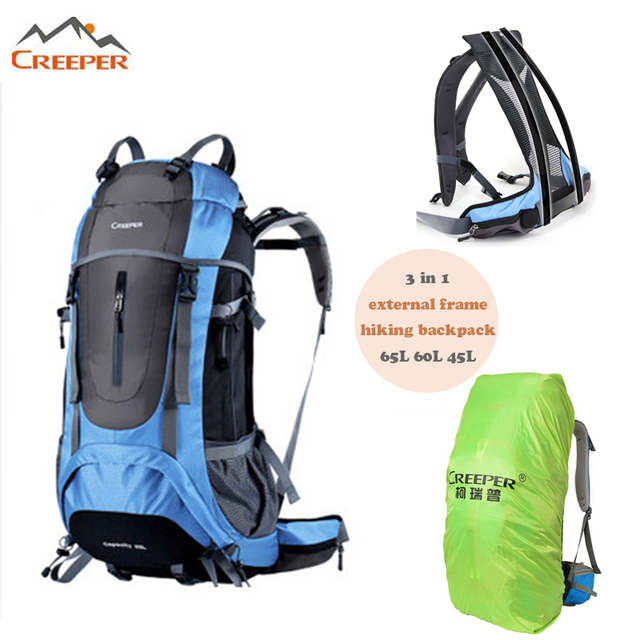 creeper 65l waterproof nylon hiking backpacks mochilas outdoor external frame mountaineering sport bag rucksacks with rain - External Frame Hiking Backpack