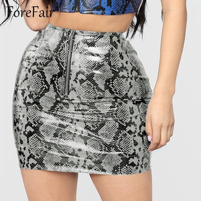 74ac1cbc0dbaa Forefair New 2018 Women Autumn Winter PU Leather Skirt High Waist Front  Zipper Snake Skin Mini Bodycon Pencil Skirt