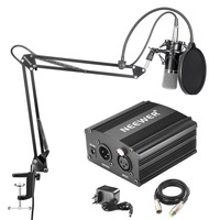 Neewer Professional Condenser Microphone Suspension Boom Scissor Arm Stand 48V Phantom Power Supply With Adapter Kit