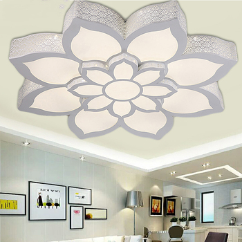 New Pattern Double Layer Large Lotus Type Ceiling Lamp, RGB+ White Light +warm Light Intelligent Control / Hardware Iron Shell