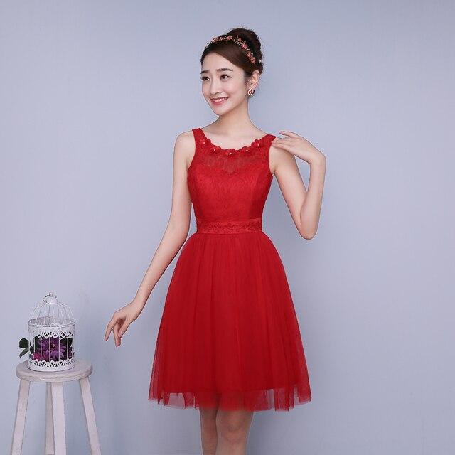 PTH-ZXC2HS # Model tonen 2016 nieuwe lente bruidsmeisjes jurken korte bruiloft prom zusters graduation toastp jurk goedkope rode