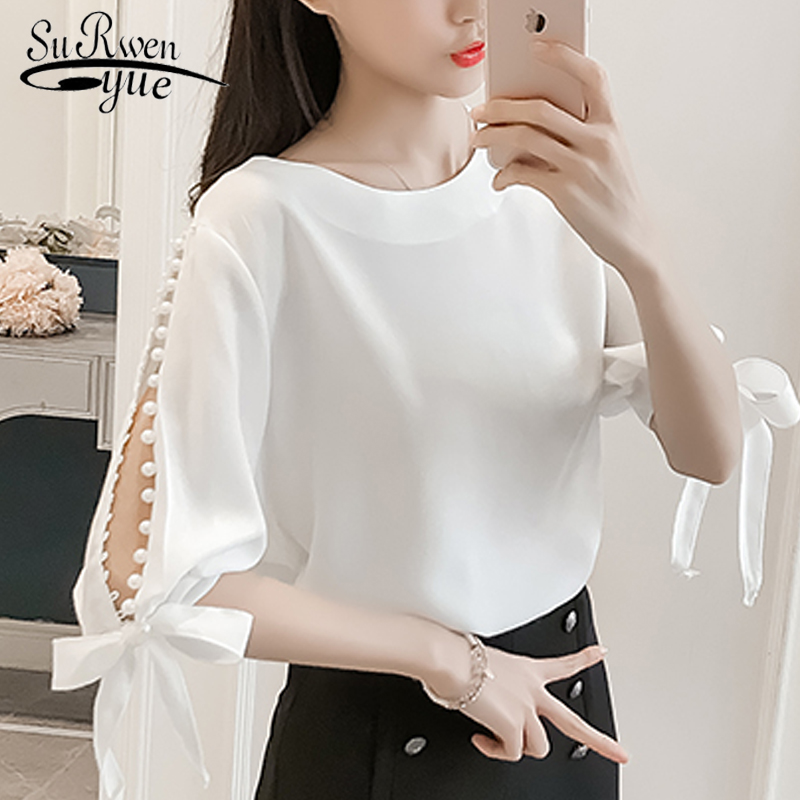 Fashion woman   blouses   2018 Summer ladies tops chiffon Women   Blouse     Shirt   White Pink beading feminine   blouses   TOPS Blusas 0359 40