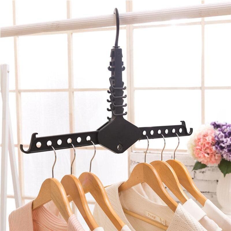 Mrosaa Rotated Travel Magic Folding Clothes Hanger Multi-Functional Dual Clothing Drying Organizer Wardrobe Storage Rack