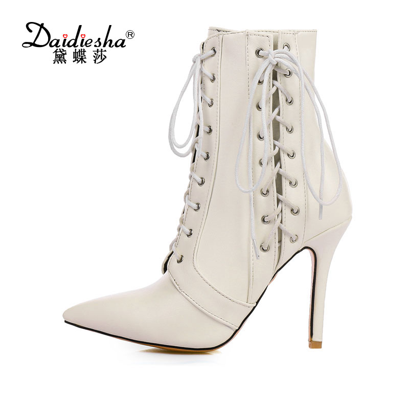 Daidiesha  2018 Women Ankle Boots PU Leather Pointed Toe Sexy Rivets High Heels Lace Up New Winter Boots Shoes Size 34-47 2016 fashion winter women shoes sexy pointed toe platform thin heel high heels big size 32 46 solid pu lace up ankle boots