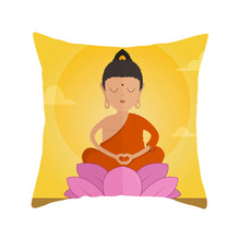 Fuwatacchi Cartoon Buddha Statue Cushion Cover Buddhist Religion Throw Pillow Cover Holy Buddha Square 45X45 Pillowcases castle buddha shadow chinese polyester toss throw pillow square cushion gift