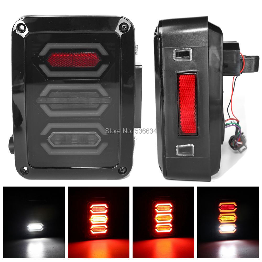 35W US version LED Tail Lights  Fourth Generation Taillights Turn Signal Light Rhombus For Jeep Wrangler JK 2-Door high quality stainless steel black light guard rear taillights cover for 07 17 jeep wrangler jk 2 door