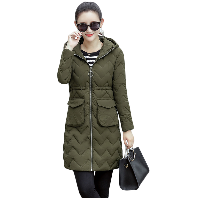2017 New Female Warm Winter Jacket Women Coat Parkas Thin Cotton-padded Jacket Long Hooded With Pockets Ladies Outwear CM1428 new wadded winter jacket women cotton long coat with hood pompom ball fashion padded warm hooded parkas casual ladies overcoat
