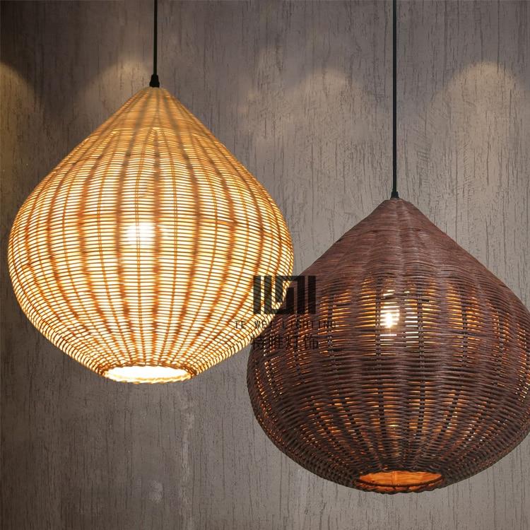 Simple Bamboo Lantern Pendant Lights Creative Dining Table