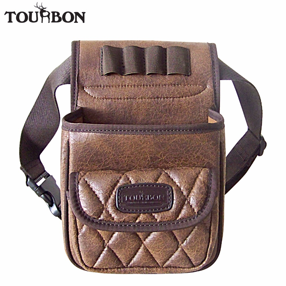 Tourbon Hunting Tactical Gun Cartridges Bag Shooting Speed Loader Game Bag Ammo Shells Holder Durable PU Pouch with one Pocket 2016 tourbon design tactical handgun magazine carry bag canvas with pu pistol case zippered black pouch wholesale