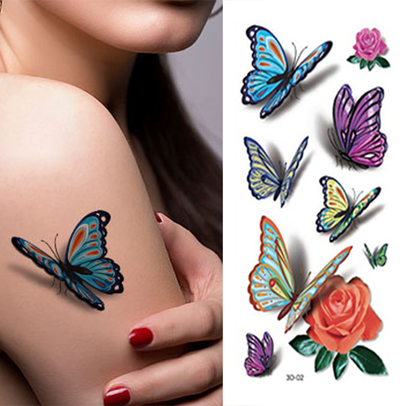 3d Kolorowe Butterfly Rękaw Tatuaż Wodoodporna Tymczasowe