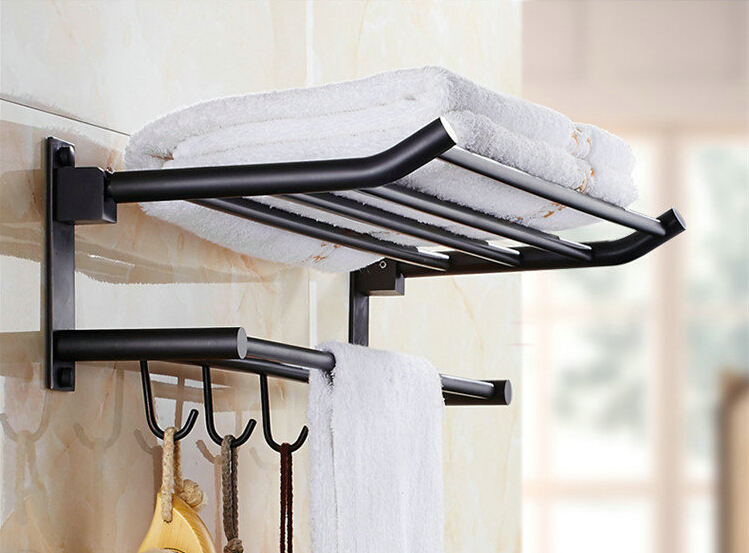 New Arrival 50 Cm Folding Bathroom Towel Rack Black Oil Brushed Foldable  Fixed Bath Towel Holder