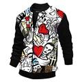 New Trend Love Heart Printed White Jacket Men 2017 Autumn Mens Fashion Slim Fit Zipper Baseball Jackets Casual Bombers Blouson