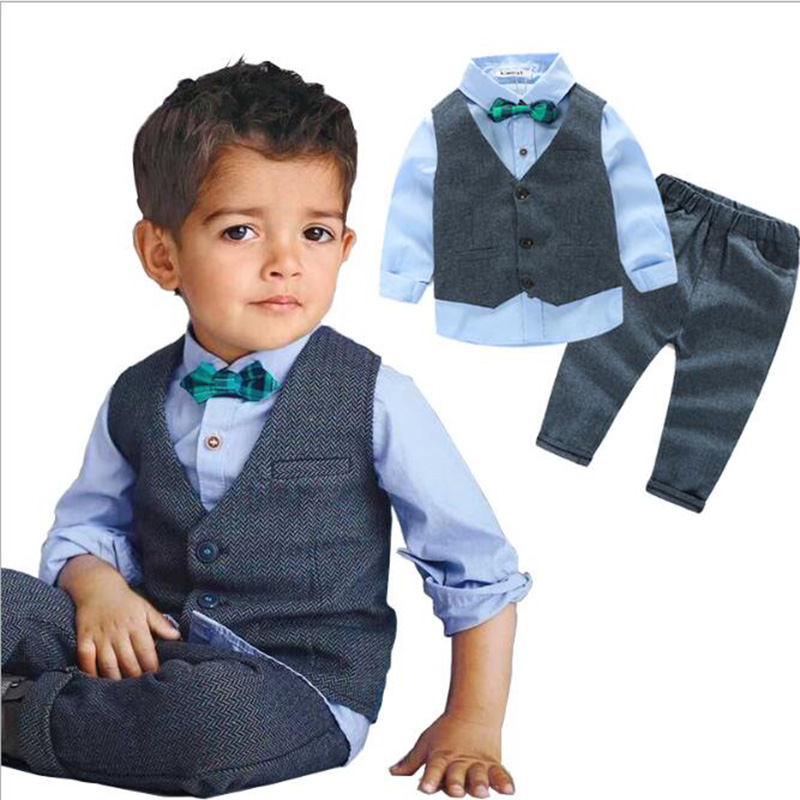 Boys Formal Suit Three Pieces Hot Sale British style Fashion Kids Winter Wear Flat Single Breasted Children 39 s Gentleman Clothes in Clothing Sets from Mother amp Kids