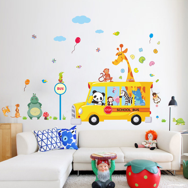 Forest Animals School Bus Wall Stickers For Kids Rooms Panda Monkey Giraffee Turtle Nursery Room Decor