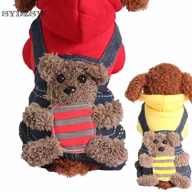 SYDZSW New Chihuahua Clothing Red Yellow Sport Dog Coat Hoodie for Small Dogs Cats Puppy Pet Jeans XS S M L XL XXL Dog Costume