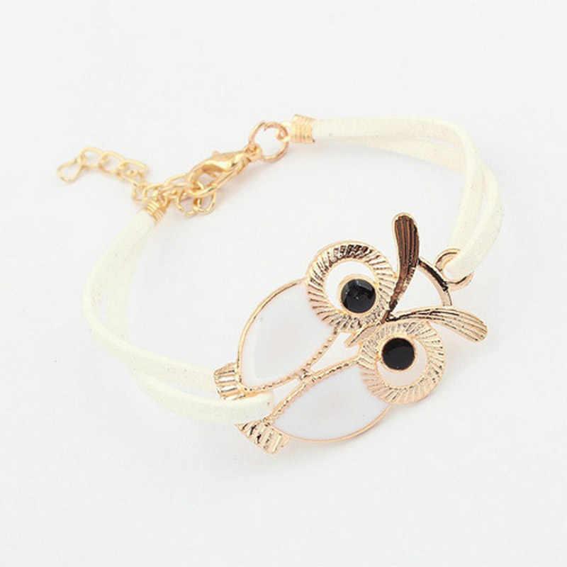 Retro Owl  Artificial Leather Bracelets For Women Jewelry Vintage Korean Charm Bracelet Gifts Bijoux Femme Bileklik