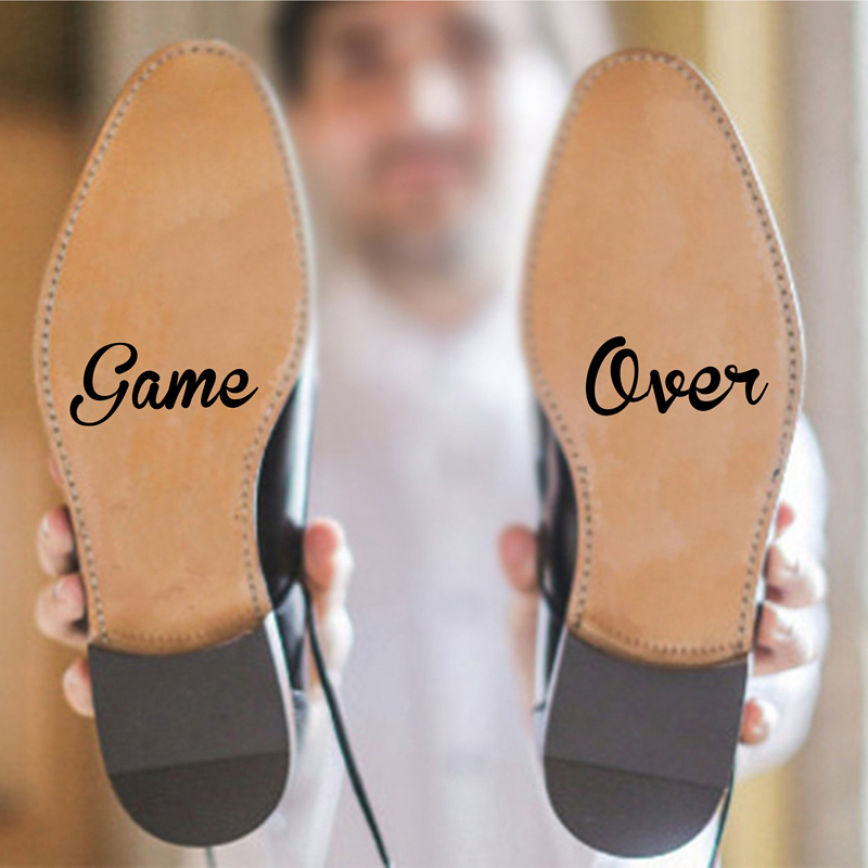 Game Over Groom Bride Love Vinyl Art Decal Sticker Marriage Hubby Creative Gift Funny Wedding Accessories Shoes Decor image