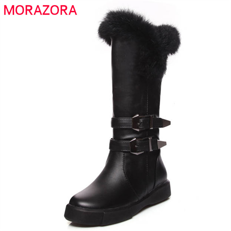 MORAZORA 2018 new arrival mid calf boots women slip on round toe winter snow boots keep warm buckle flat shoes woman black big size new fashion women boots slip on mid calf flats shoes round toe winter snow boots solid plush soft leather shoes woman