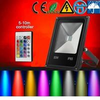 CP AC220V 10w 20w 30w 50w 100W 200V LED RGB luz de Inundação preto shell levou ao ar livre Da Paisagem do jardim Da lâmpada busca luz luminária led|Luminárias de parede externas|   -
