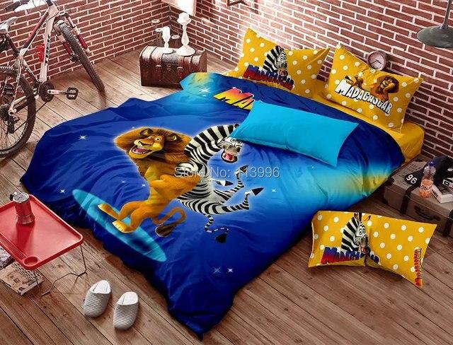 Cute Lion Zebra Madagascar Blue Cotton Active Prints Bedding Set Queen Or  Full Bed Sheet Duvet