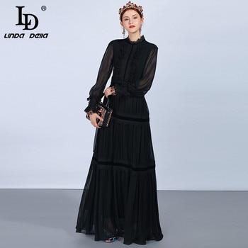 Женское платье с кружевом LD LINDA DELLA, длинное черное платье с длинным рукавом, платье в стиле пэчворк, платье с рюшами, праздничное платье 2019 3