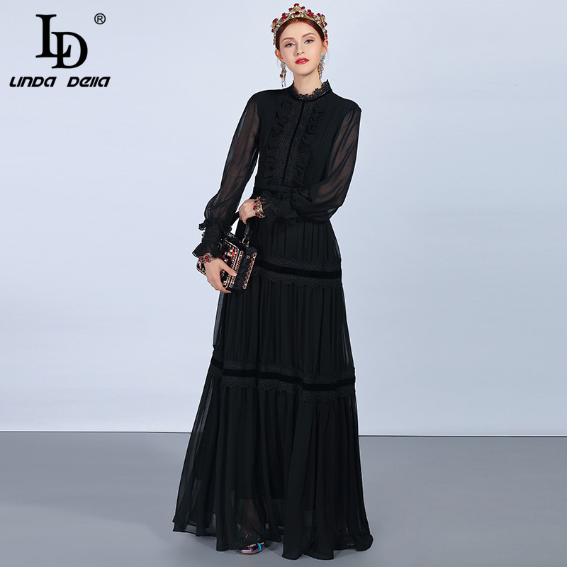 LD LINDA DELLA Fashion Runway Maxi Dresses Women's Long Sleeve Lace Patchwork Ruffles Vintage Black Dress Elegant Party Dress - 3