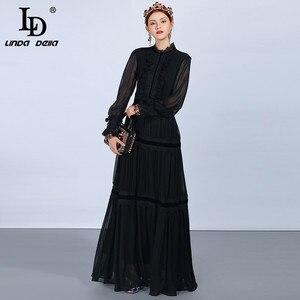Image 3 - LD LINDA DELLA แฟชั่น Maxi ชุดผู้หญิงแขนยาวลูกไม้ Patchwork Ruffles VINTAGE Black Elegant PARTY DRESS