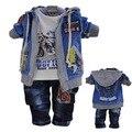 Frete grátis Tong infantes Vale algodão veludo terno três-peça primavera newbaby roupas conjunto de roupas de bebê no outono