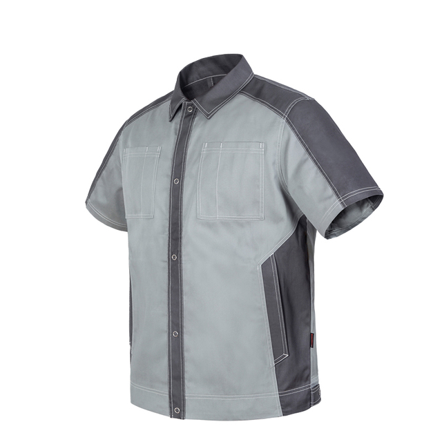 Bauskydd Bauskydd Men\u0027s durable workwear dark grey red short sleeve work  jacket work polo shirt wear