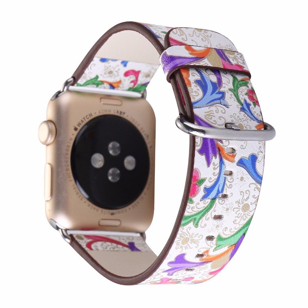 Prix pour Pour apple watch 38/42mm sereis 1/2 de fleur de cru affiches bande de montre de courroie de femmes hommes montre-bracelet bracelet remplacement i241.
