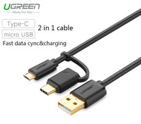 Ugreen 2 In 1 Micro USB TYPE C Cable Gold Plated Universal Charge Usb3 0 Line