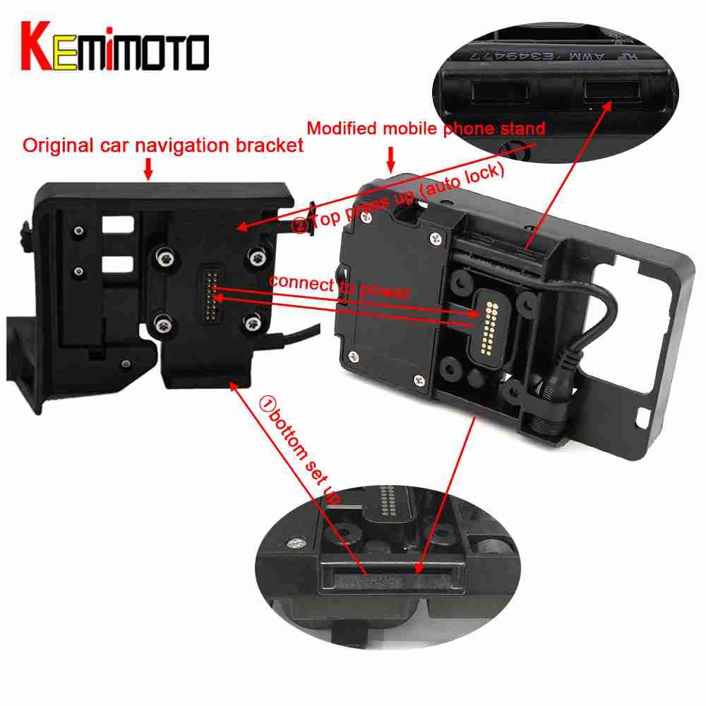 Pour BMW R1200GS Mobile Téléphone Navigation Support ADV F700 800GS CRF1000L Africa Twin Pour Honda Moto USB De Charge 12 MM montage