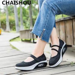 CHAISHOU/2018 г. летние женские туфли на плоской платформе женская обувь с открытым носком дышащая сетка повседневная обувь zapatos mujer F-200