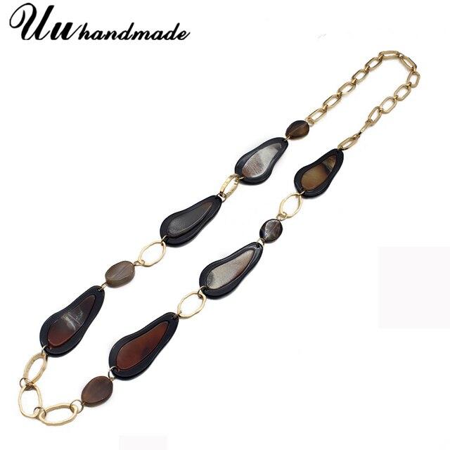 72af30b3e1f6 Steampunk collares y colgantes vintage natural piedra larga collar Maxi  collar mujeres Boho gargantilla Collares Etnicos cadena