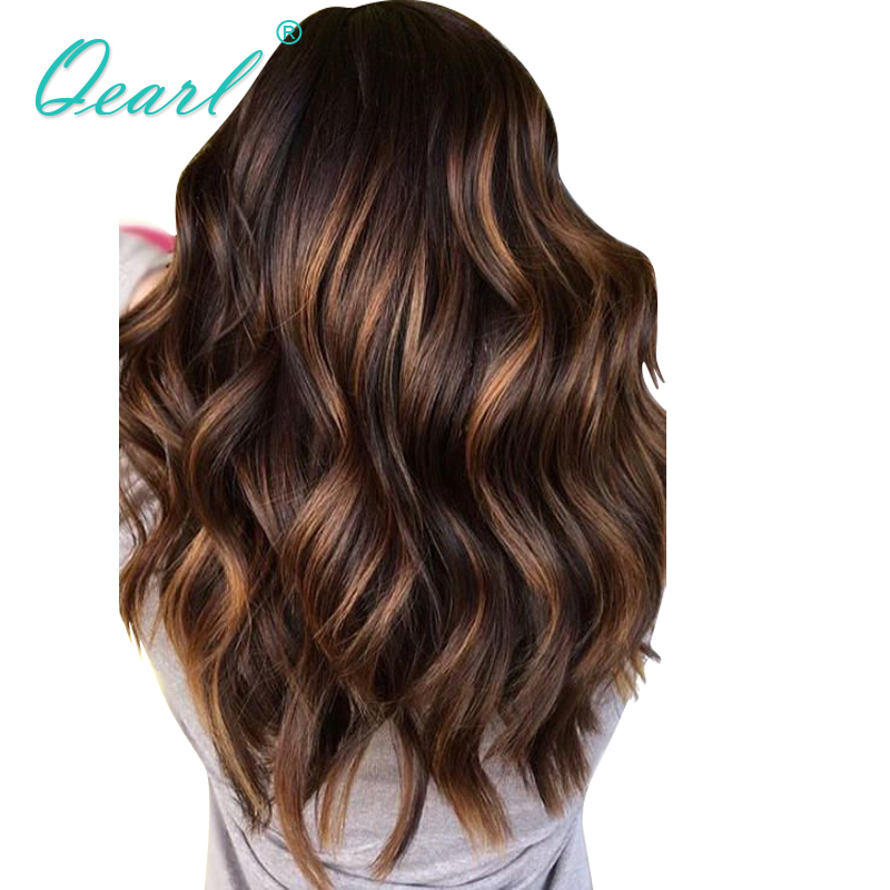 Lace Front Human Hair Wig 13x6 Ombre Highlights Color Pre Plucked With Baby Hair Freepart Brazilian Remy Hair Natural Wave Qearl