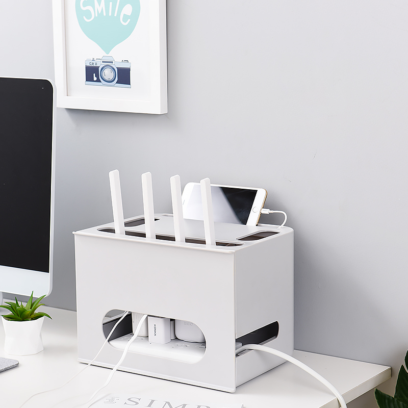 Double Layers Drawer Type Wireless WIFI Router Storage Box Cable Power Plu B0X7