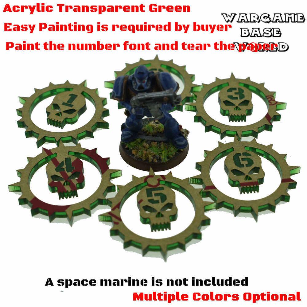 Wargaming Wargames Green Skull Objective Markers Set 1-6