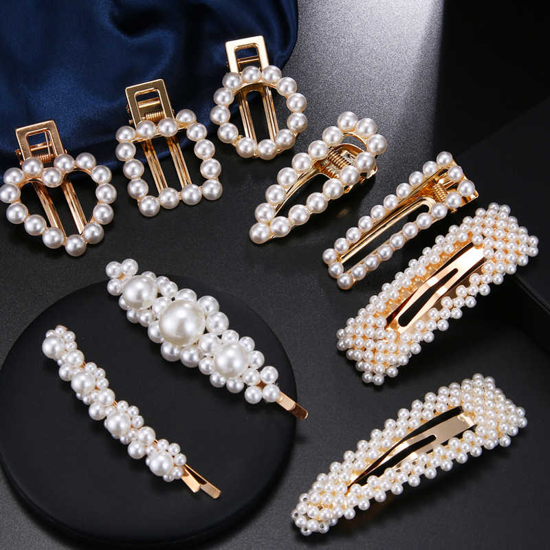1Pcs Faux Pearls Hair Barrettes Clips Glitter Hairpins Pearl Wrapped Geometric Bobby Pin Headdress For Women Ladies Girls