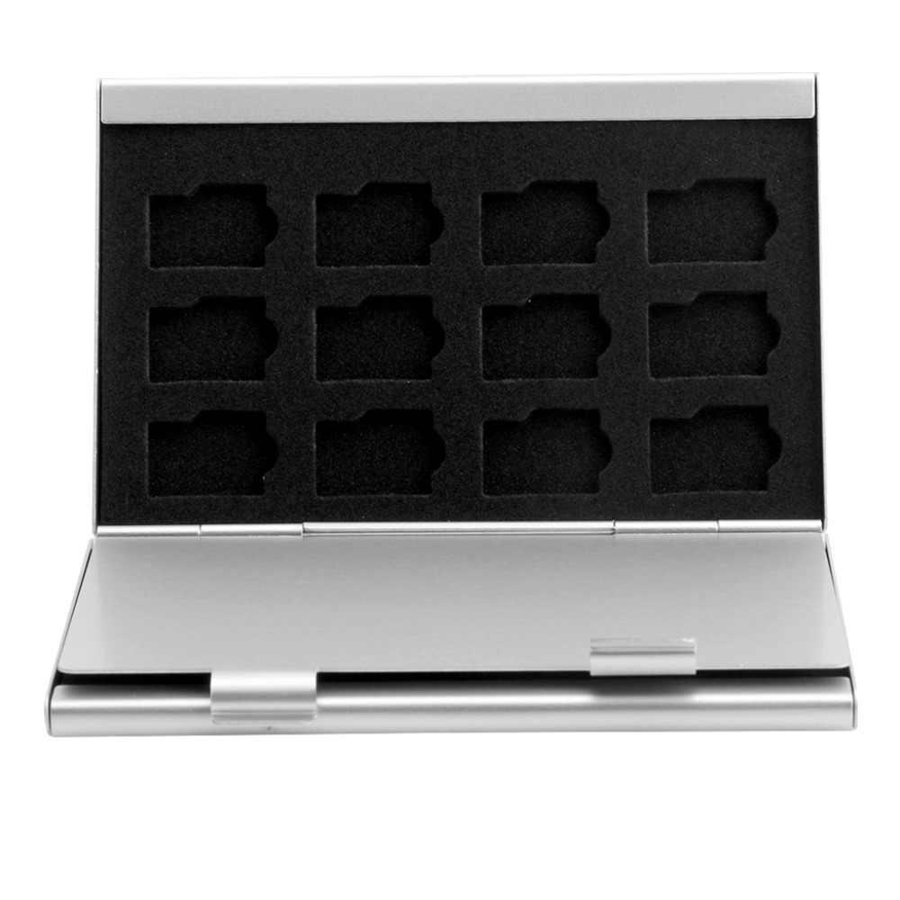 Étui de rangement pour carte mémoire en aluminium argenté support de la boîte pour 24 cartes Micro SD TF C26