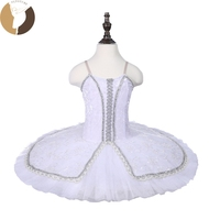 Classical Ballet Tutu White Velevt Bodies Silver Decorations Child Leotard Tutu Skirt CT18015 Girls Dance Costumes Pancake Tutus