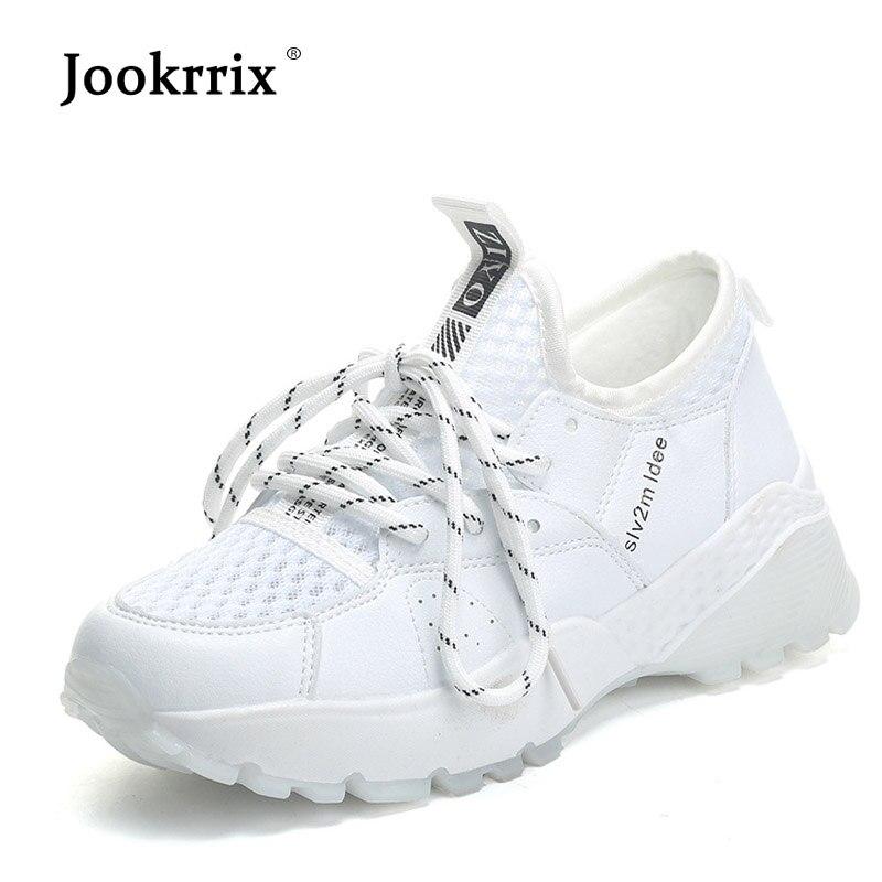 7d68ee4ec2cc Jookrrix 2018 Weiß Schuhe Frauen Marke Casual Plattform Turnschuhe Dame  chaussure Kreuz-gebunden Herbst schuhen Weibliche Schuhe Alle Spiel