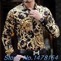 2015 Роскошь Барокко Шелк Мужские Леопардовым Принтом Рубашка Мужская Золото Рубашка Черный Сорочка Homme Slim Fit Club Цветочные Camisa Hombre