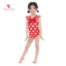 Kaiya Angel New Baby Girl Swimwear Swimsuit Bow V-neck Ruched Sleeveless Toddlers Summer Cute Sweet 5pcs/lot Factory Wholesale